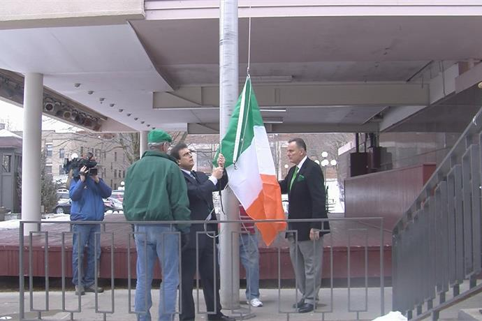 Utica kicks off St. Patrick's Day festivities with annual Irish flag raising event_-4992105126047887672