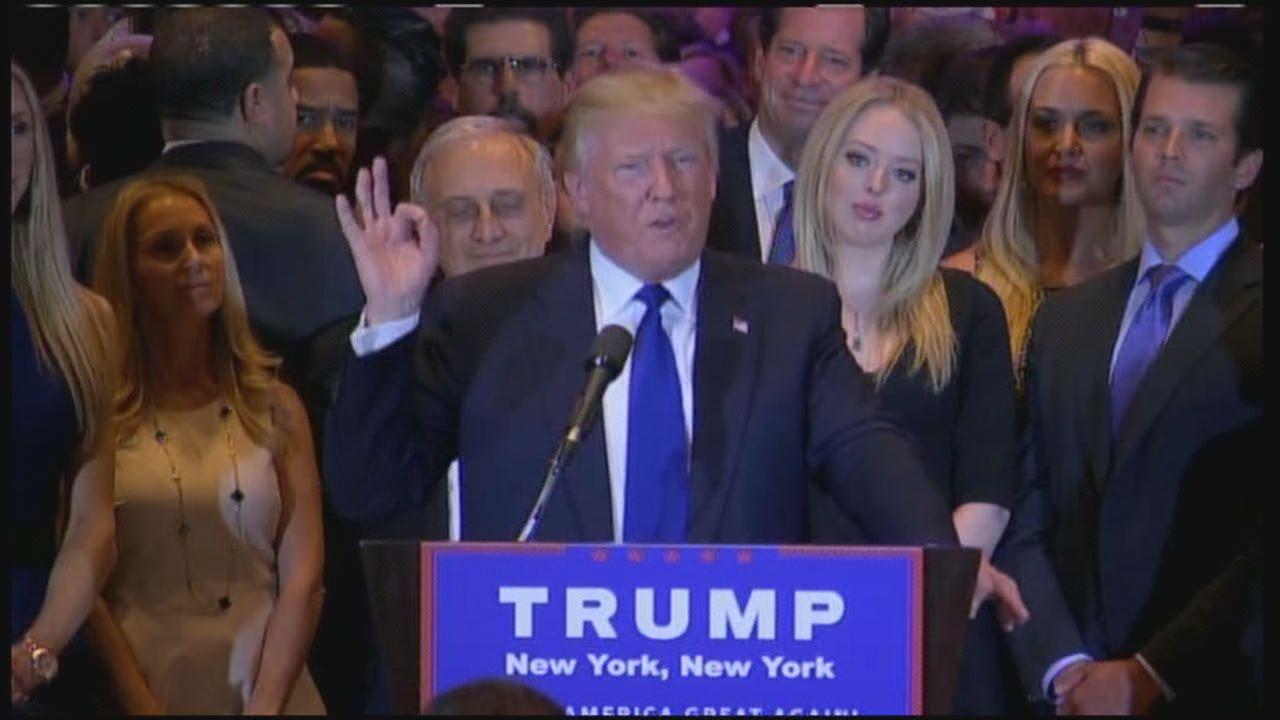 Donald Trump celebrates in New York-118809342